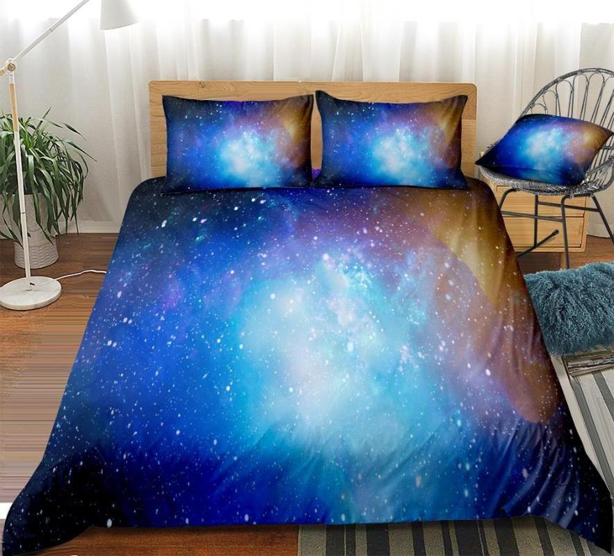مجرة مجموعة مفروشات السماء المزدانة بالنجوم غطاء لحاف مجموعة الفضاء والكون سرير الكتان الملونة سديم المنسوجات المنزلية الأزرق الأرجواني غالاكسي Bedclothe