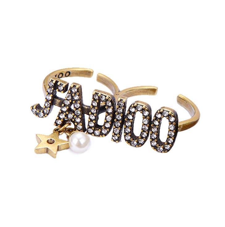 Retro нового стиля с двумя пальцами кольца, алмазное письмом, жемчужна пятиконечная звездой кольца шпильки