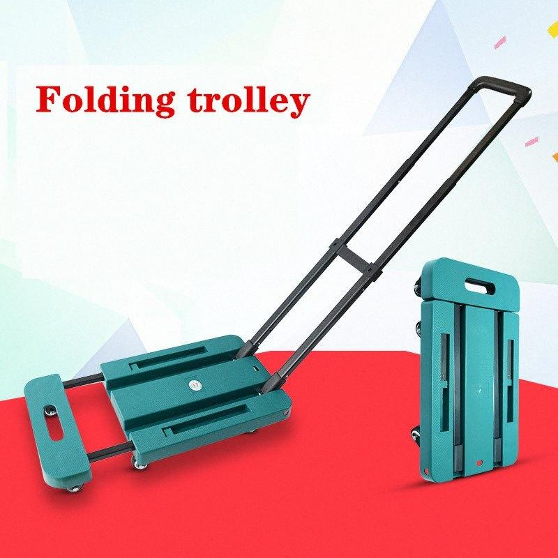 Folding trolley Folding flat car six wheel universal wheel handcart portable goods trolley household handcart IhAZ#