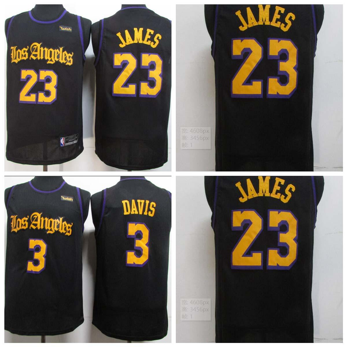 Men # LeBron James # 23 # # # 3 # Anthony Davis # jugadores clave coser camisetas de baloncesto, los latinos swingman negro camisetas de baloncesto.