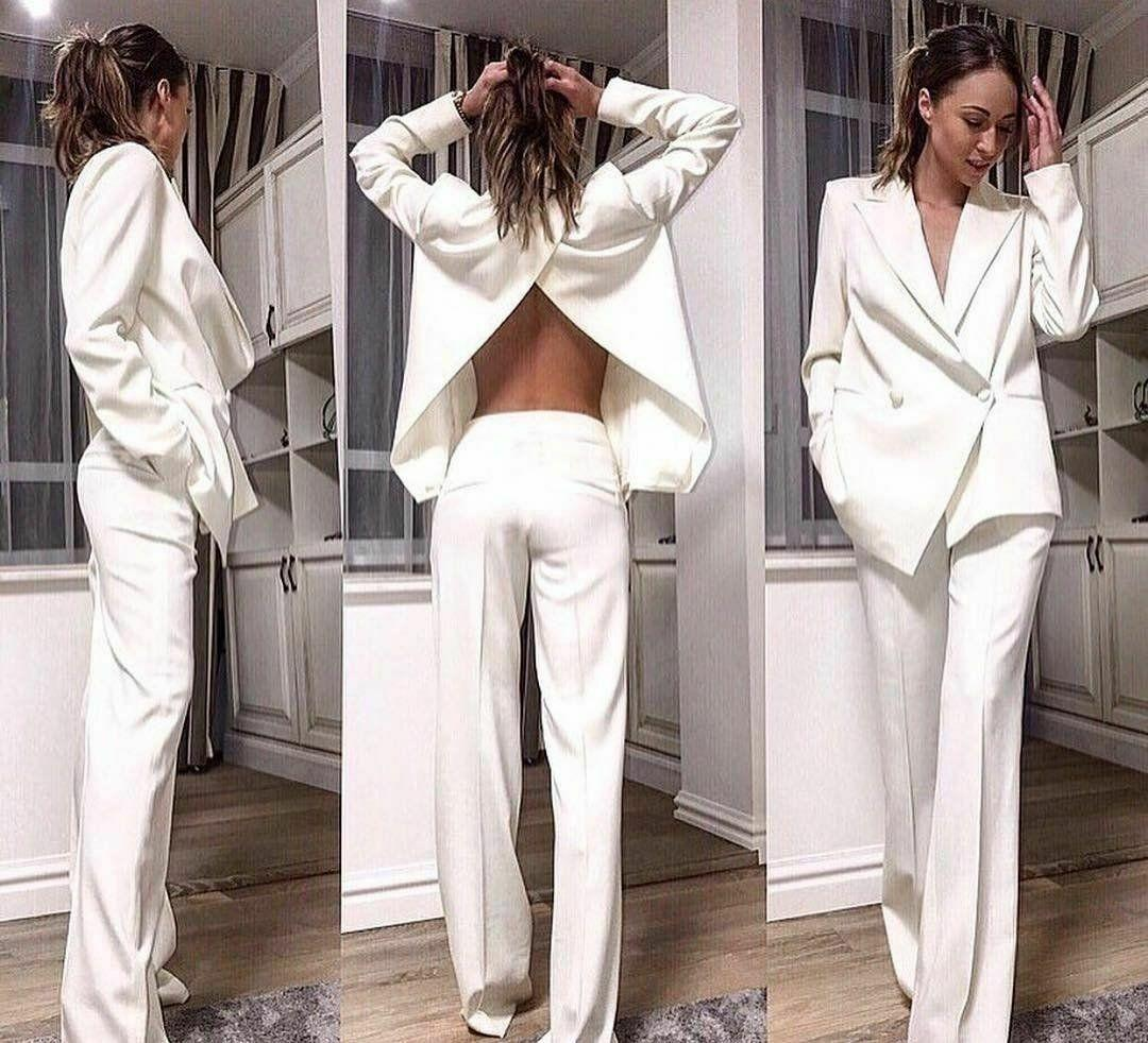 2021 White Women Suits Back Split Work Party Wear For Ladies Loose Fit Business Tuxedos Guest Wedding Prom Party Ogstuff