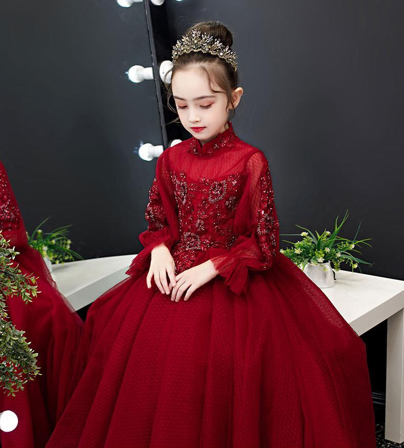 Beauty Wine Tulle Sleeves Applique Beads Flower Girl Dresses Girls' Pageant Dresses Holidays/Birthday Dress/Skirt Custom Size 2-14 DF710328