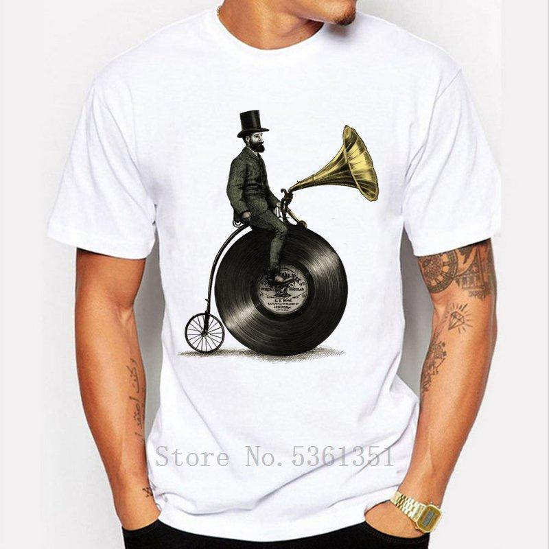 2019 Yeni Erkek T Shirt Yaratıcı Müzik Man tişört kısa kollu Hipster Tasarım Bisiklet O-Boyun Tee Gömlek Erkekler Komik Tişörtler yazdır