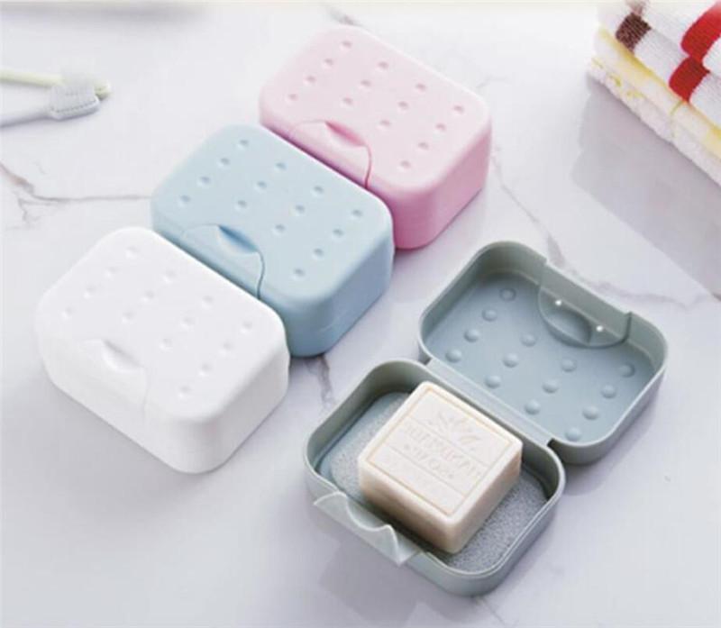 Nuevo recorrido del hogar caja de jabón titular de senderismo higiénica fácil de llevar jabón caja de baño plato ducha organizador de la cubierta de jabón