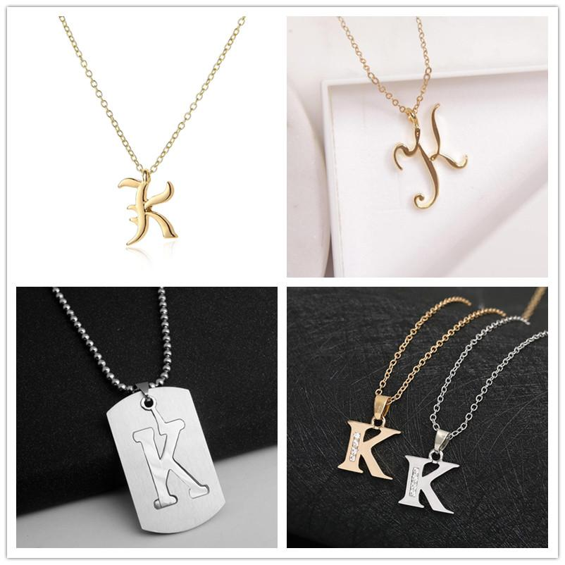 Wholesale Letter K Stainless Steel Alloy Alphabet Name Initial Monogram  America English Word Letter Family Name Sign Pendant Chain Necklace Jewelry  Gold Charms Heart Necklaces From Fashion_gifts, $1.5| DHgate.Com