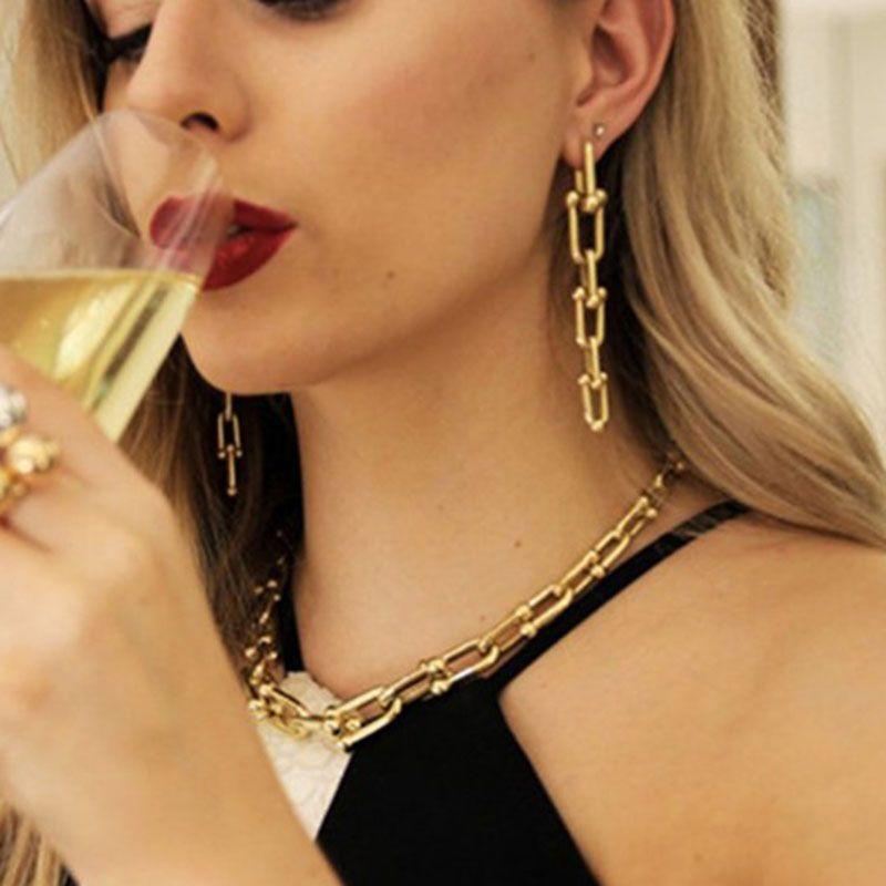 2020 Chaînes gothique U Boucles d'oreilles pour femmes Vintage Boucles d'oreilles géométriques Femme Brincos chaîne Tassel Boucles d'oreilles Punk Bijoux Bijoux Party