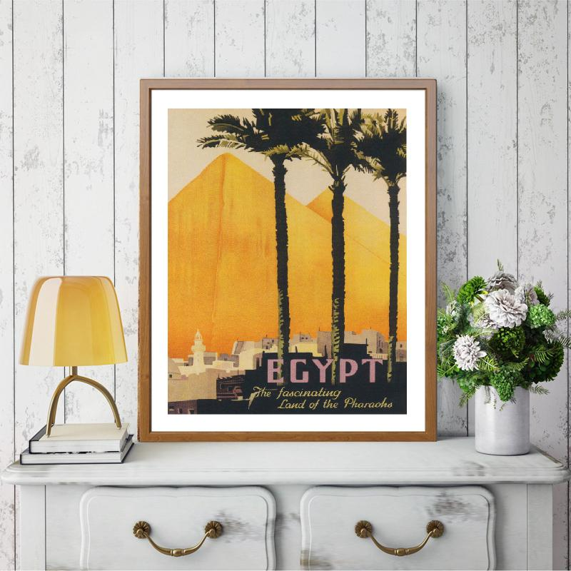 Egypt Travel Palm Trees Great Pyramids Vintage Poster And Print Summer Landscape Large Wall Art Canvas Painting Home Decor