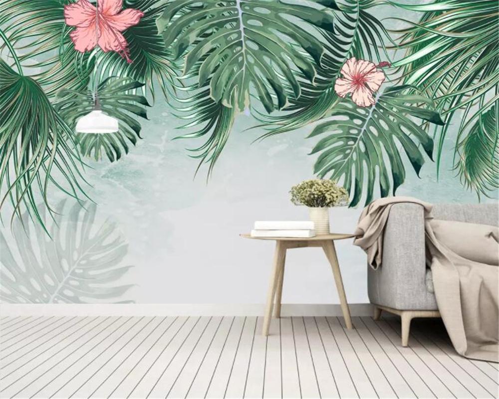 beibehang encargo mural de papel pintado 3D selva tropical del sudeste asiático Flor Hoja sofá fondo del papel pintado TV Decoración Papel hogar