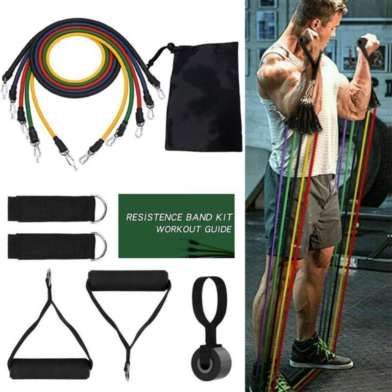 Direnç Bantları 17 adet Set Genişletici Yoga Egzersiz Spor Kauçuk Tüpler Streç Eğitim Ev Gym Egzersiz Elastik Çekme Halat Spor