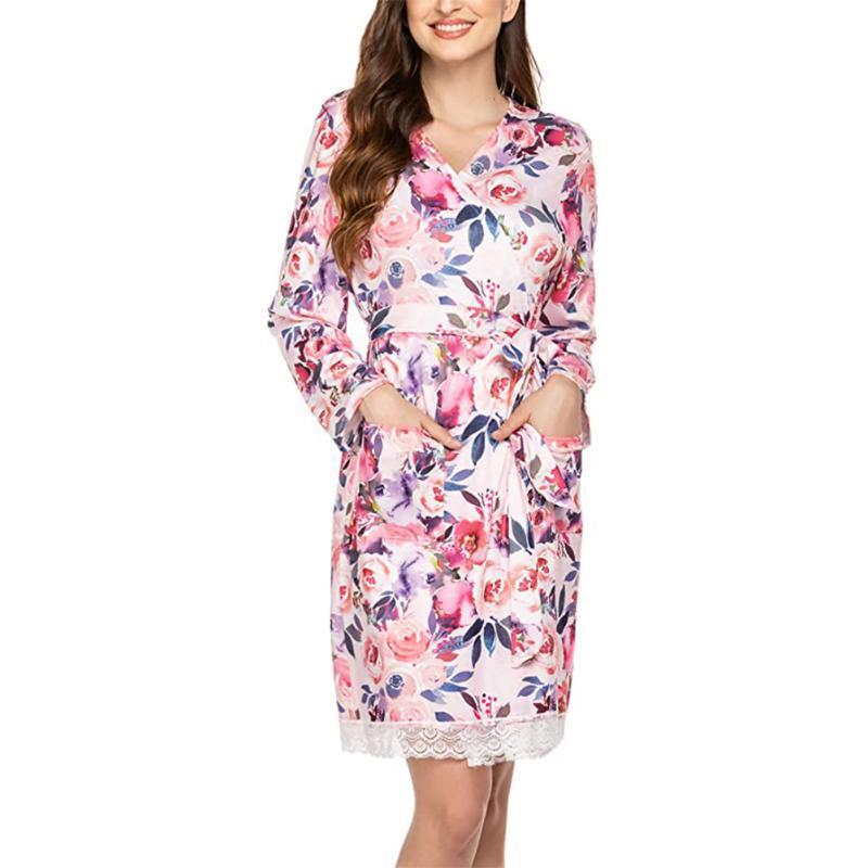 Le donne vestito casuale stampa floreale con scollo a V a maniche lunghe abito da notte Pigiama