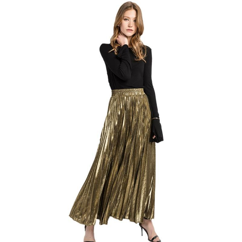 Mulheres Moda Suede saia de cintura alta longa listrada cintura elástica cor sólida Casual Partido Vintage plissadas Saias ouro L