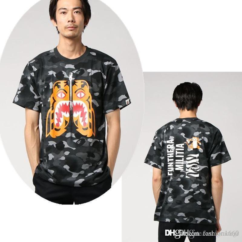 2020 hommes Apes t femmes de mode chemise t-shirt été adaptés à la lettre le style hip-hop sports de plein air plage impression dessin animé camouflage lueur A1