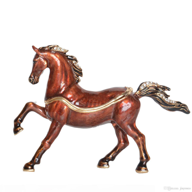 Articoli da regalo Cavallo Arabo smaltato peltro Jeweled Trinket Horse Figurine