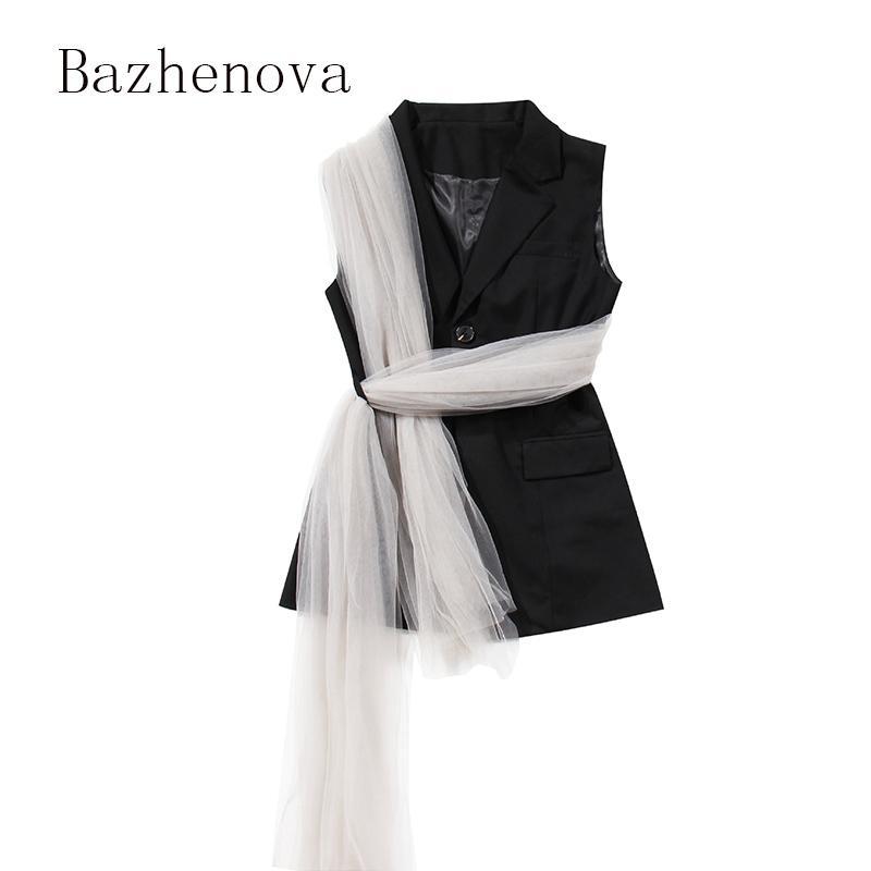 Bazhenova Kadınlar Sonbahar Kolsuz Seksi Dantel Yelek Kızlar Özel Kişilik Kadın Zarif Silod Renk Tank Bow R507 Tops