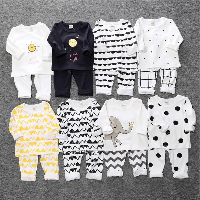 Baby Girls Pajamas Dot Plaid Toddler Boy Shirts Pants 2pcs Sets Cotton Infant Girls Suit Boutique Baby Clothing 8 Designs BT4390