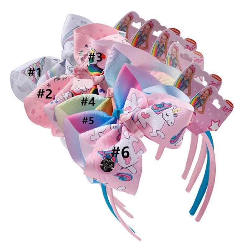 Baby Mädchen Einhorn Haarband Kinder Boutique Haar Bögen Sticks Regenbogen Cartoon Druck Stirnbänder Ribbon Kopfbedeckung mit Tag Haarschmuck Heiß