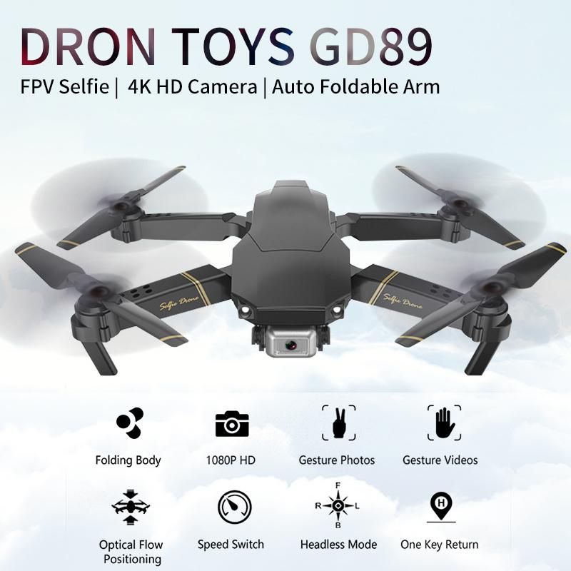 Drone WIFI 4K HD Camera Foldable RC Helicopter Aircraft Six-axis Remote Control Drone Quadcopter Dron Toys GD89