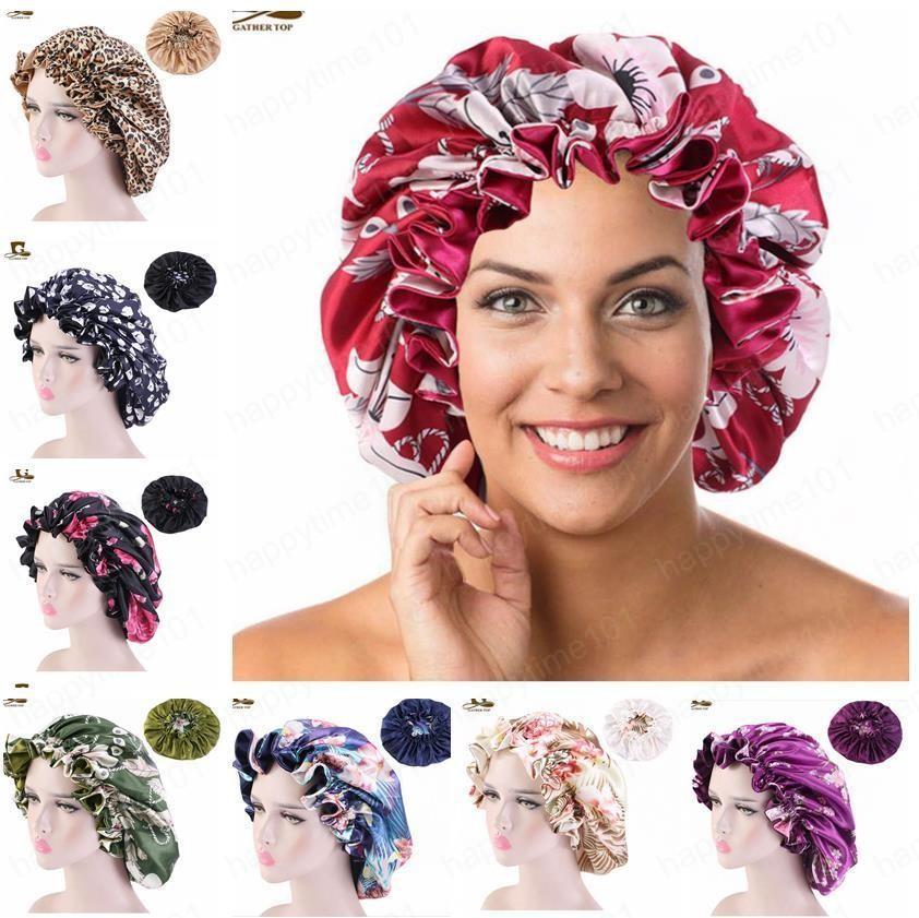 New cetim capotas noite de sono Caps para Mulheres Moda Extra Large Double Layer reversível Silk Bonnet para cabelo encaracolado Braid