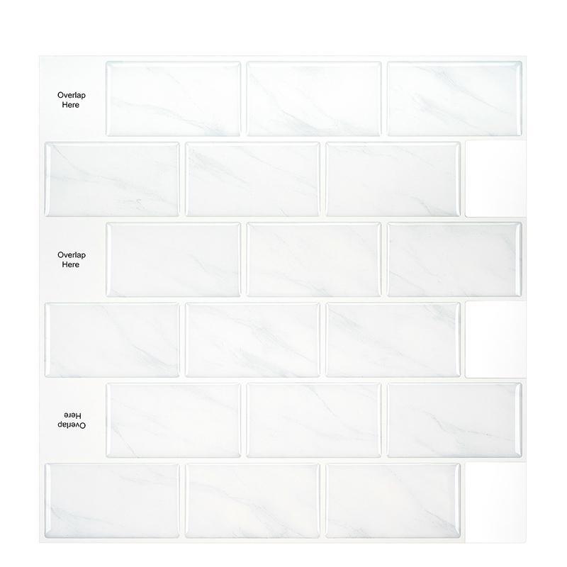 كبيرة ذاتية اللصق بلاط البلاط باكسبلاش 3d خلفيات diy المطبخ الحمام الديكور الأبيض ماء الجدار بلاط