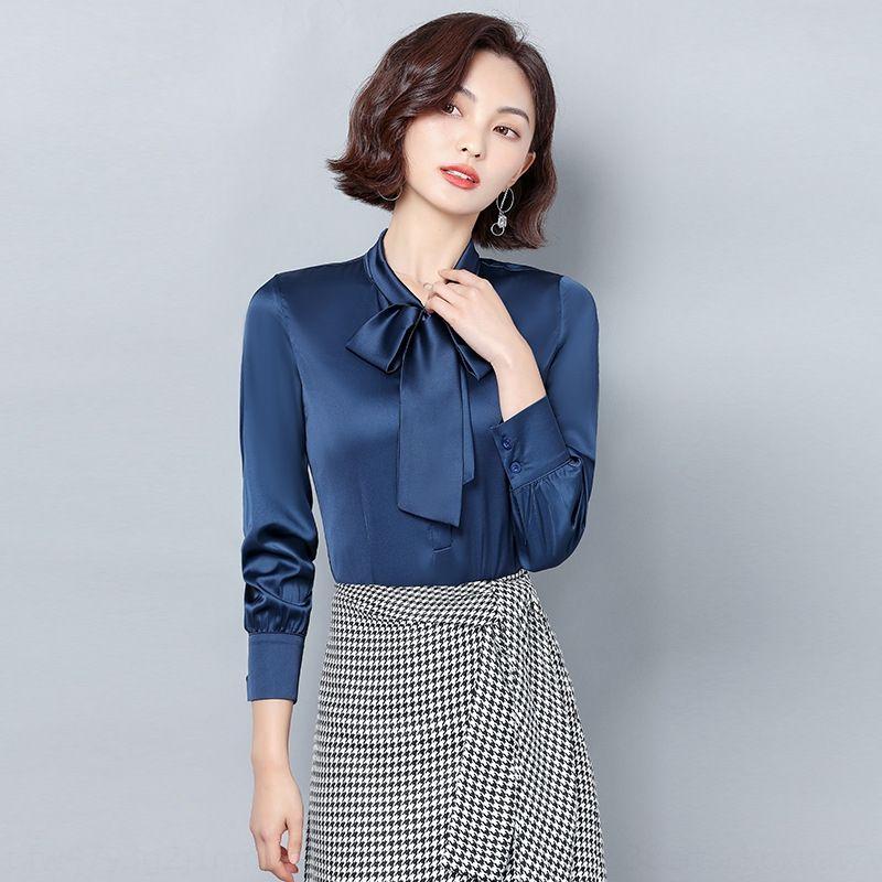 2020 년 봄 최고 나비 실크 한국 스타일의 나비 모조 실크 쉬폰 셔츠 여성의 짧은 느슨한 긴 솔리드 컬러베이스 위에 슬리브