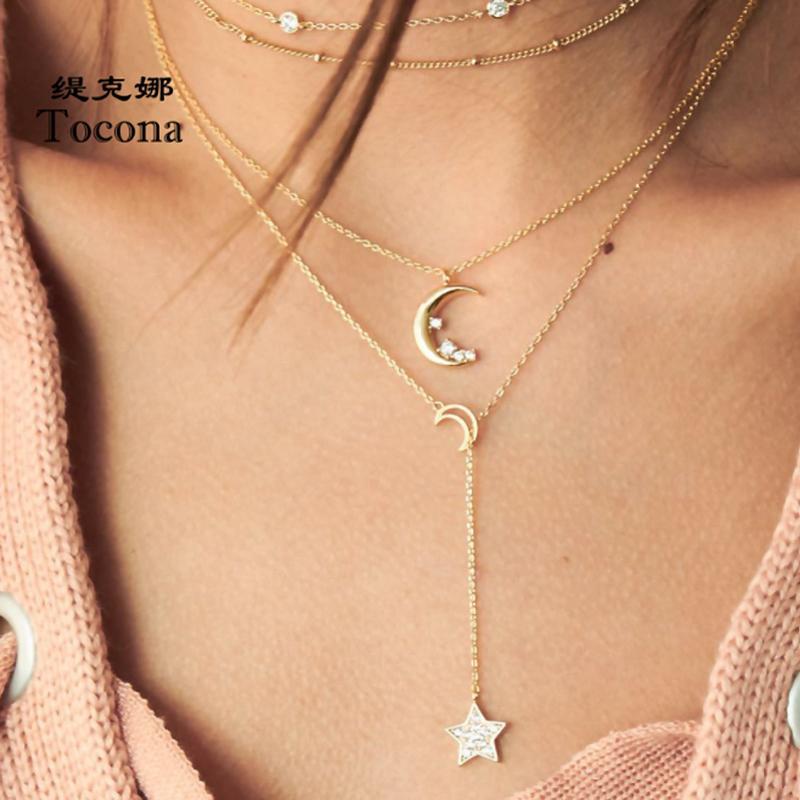 Bohemia del collar de múltiples capas en forma de collar para las mujeres Mujer estrella de la luna de cadena de joyería de diseño cristalino claro de piedra clavicular 5813