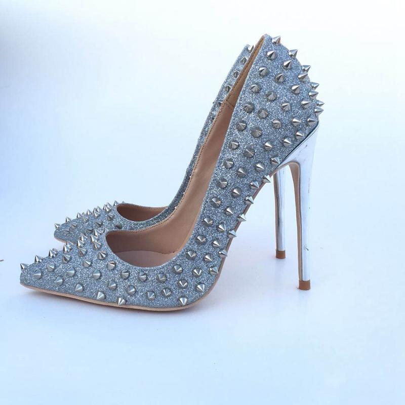 Bombas 2020 nuevas señoras de la PU de cuero zapatos de tacón alto del remache del partido de la mujer en punta resbalón-en los zapatos de la boda bombas de color de la astilla
