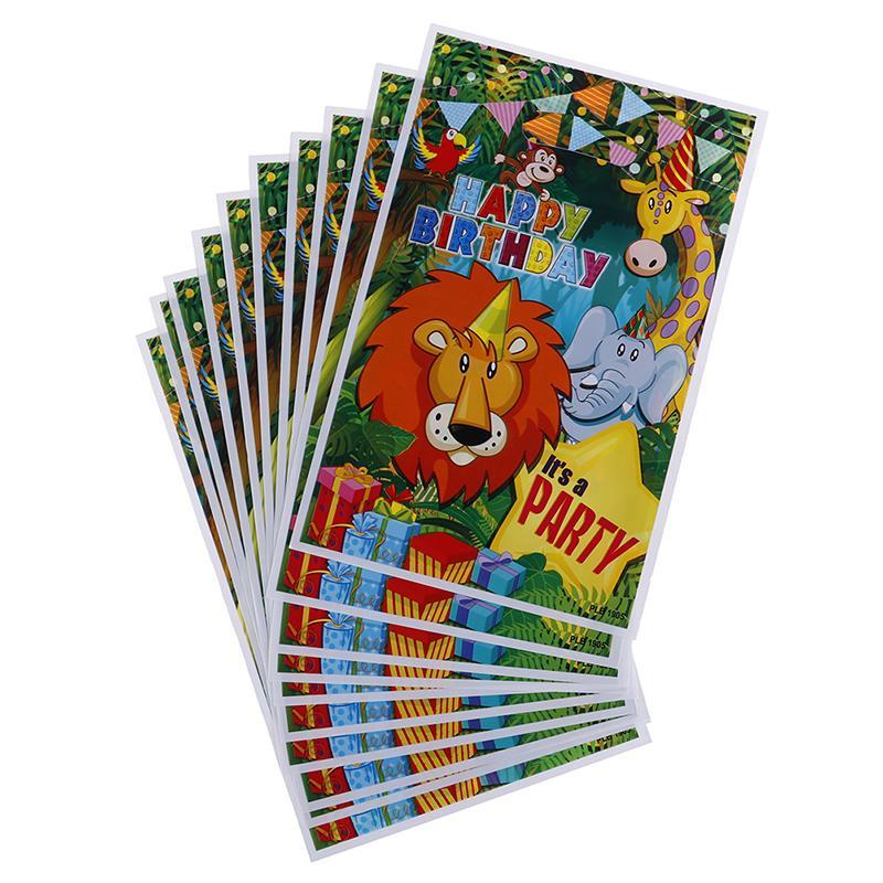 10PCS سفاري الحيوانات هدية أكياس بلاستيكية لوط حقائب كاندي حقيبة عيد ميلاد الاطفال ديكور