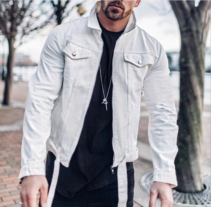 Mens High Street Denim Vestes Automne Hiver Solide Couleur poches Braguette à glissière Ceinture Veste courte Hommes Outerwears Mode
