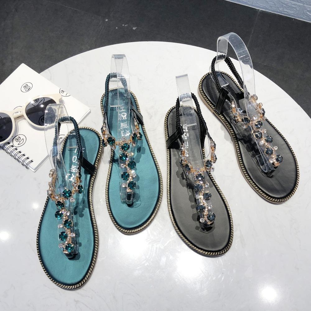 Haute qualité strass Sandales femmes Sandales Mode Chaussures d'été Femmes Rome Gladiator appartements Sandales de plage Chaussures Femme Zapatos