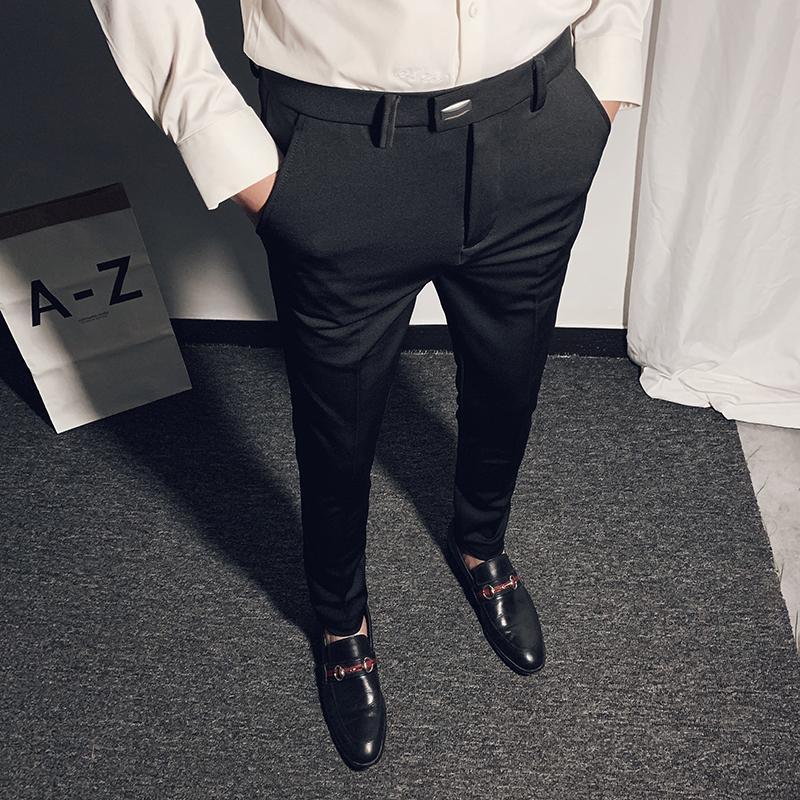 Juego de negocio de las bragas de la altura del tobillo de vestir casuales para hombre de los pantalones de los NUEVOS hombres 2020 resorte de alta calidad formal Trabajo Pantalones Pantalon 28-36 CX200728