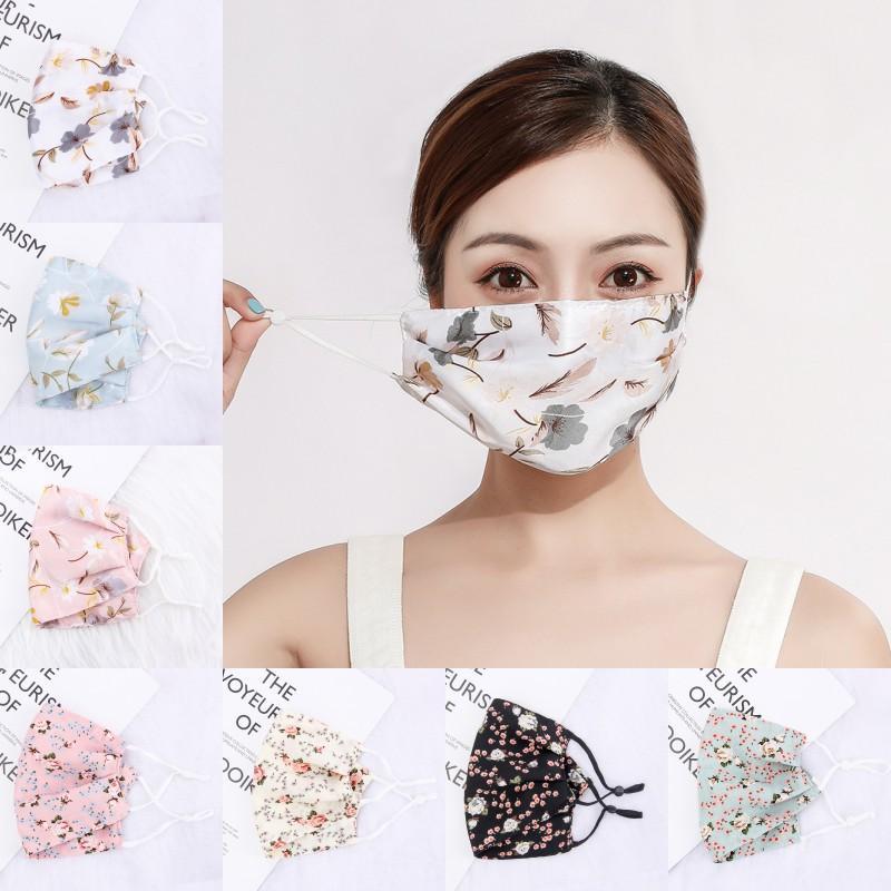 Frau Chiffon Sonnenschutz-Maske, Frühling, Sommer Breathable Lady Mund Masken Waschbar wiederverwendbare Maske Blumengesichtsmasken
