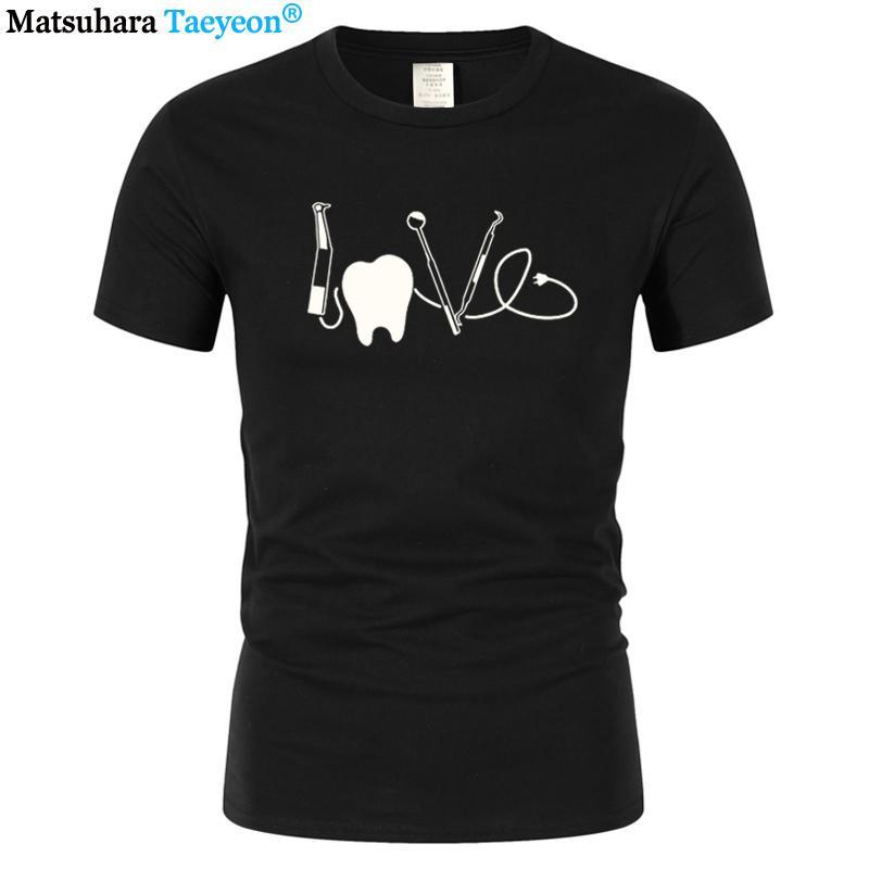 Amor dental del dentista camiseta divertida de la Navidad para hombre camiseta de los hombres de manga corta de algodón distrae fácilmente por los dientes gráfico tapa de la camiseta