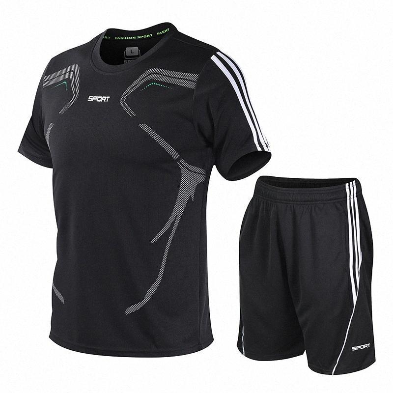 dos homens Sportswear Suit Casual Treino de manga curta Correndo Sports T-Shirts Atlético jogging e Shorts Suit Set 9AD1 #