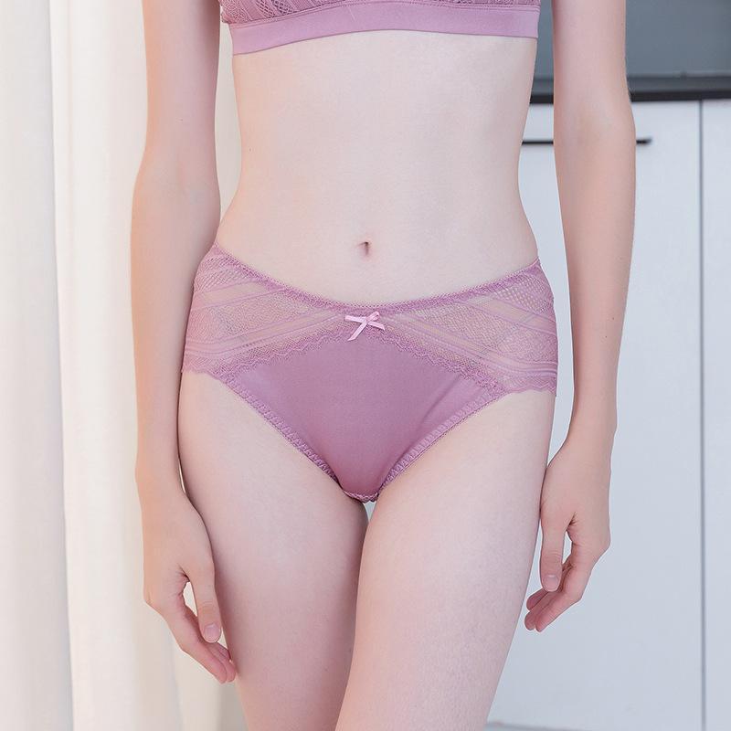 100% soie dentelle fine dentelle de femmes sous-vêtements de soie sexy de slip de taille mi perméable à l'air sans couture 9058B
