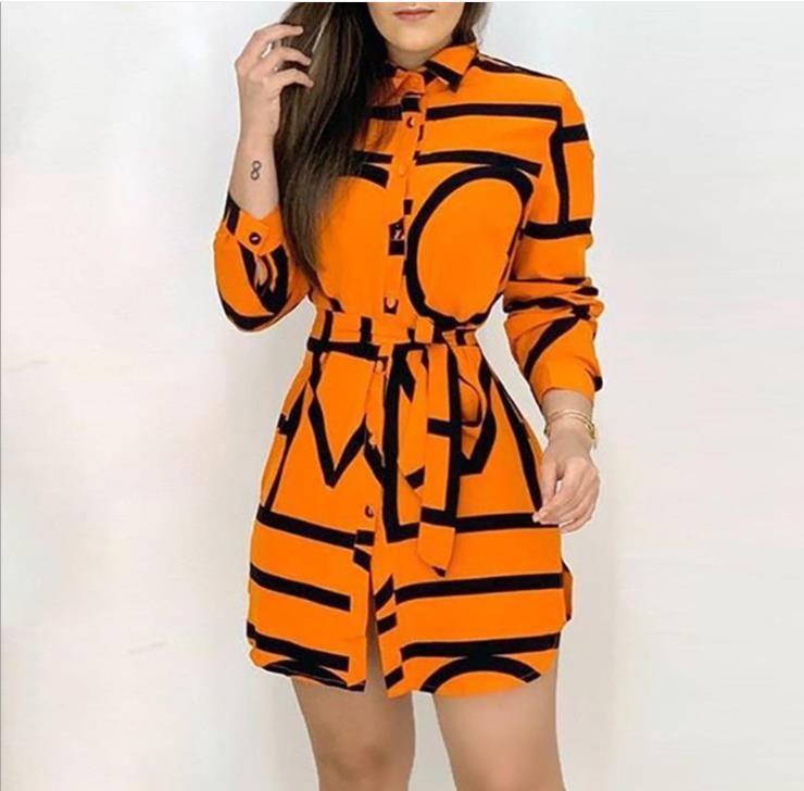 إمرأة البرتقال lettter قميص اللباس امرأة الزنانير غير النظامية التلبيب الرقبة طويلة الأكمام فساتين الصيف النساء الأزياء عالية الملابس