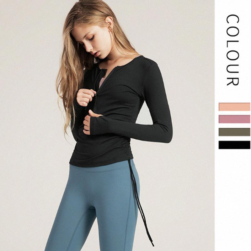 coulisse vestiti di yoga in cima sottile casuale ad asciugatura rapida corsa Sport cerniera vestiti donne fitness dRxr manica lunga #