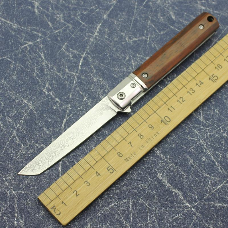 Damasco cabeza fina + Dalbergia mango de madera de acero hoja de acero pequeño espectáculo de caza plegable del cuchillo plegable del cuchillo de la supervivencia salvaje aguda EDC
