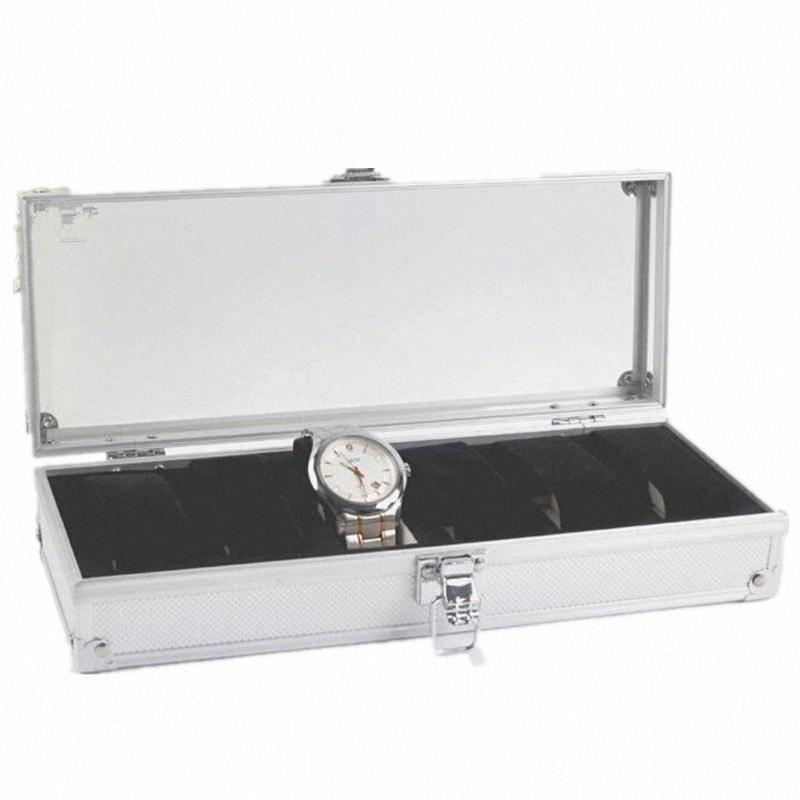 FANALA 6 rejillas caja de reloj de la aleación de aluminio del caso de exhibición del reloj de los relojes de regalo de la joyería organizador de cuero Pantalla de almacenamiento de soporte wrkW #
