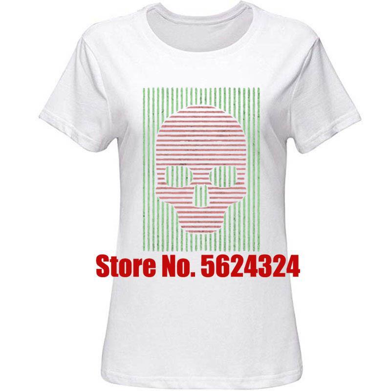 Crânio Linha Camisetas Crânio Linha Vintage T-shirt S ~ 3XL Masculino Feminino Streetwear dos homens de Slim Fit Original Pop Top Tee