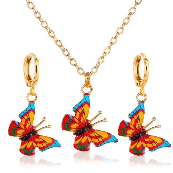 Ensembles de bijoux papillon coloré pour femmes Bijoux de mariage mignon collier d'insectes Boucles d'oreilles cadeau