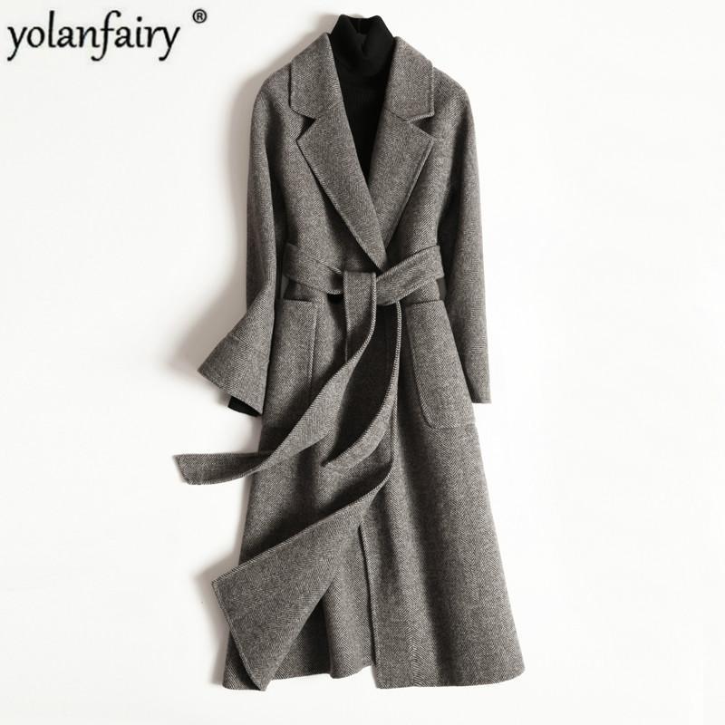 2020 Wollmantel Weibliche Doppelseitige Korean Wolljacke lange Mantel-Frühlings-Herbst-Mantel Damen Mäntel Abrigo Mujer XR1810 KJ4040