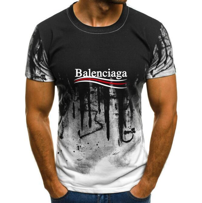 19SS новые Tshirt Короткие рукава Tee дышащий Мужчины и Женщины моды Радуга Логотип Открытый Мужская тенниска отдыха