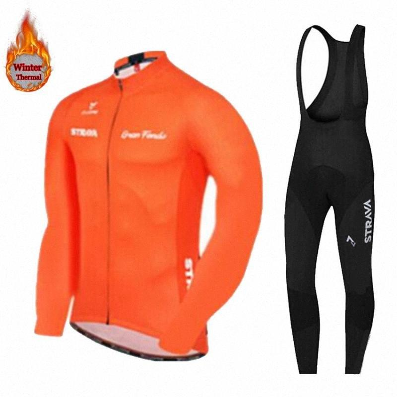 Winter thermal fleece cycling jersey 2020 STRAVA Riding sport wear mtb bike winter cycling clothing men pro team jerseys TYns#