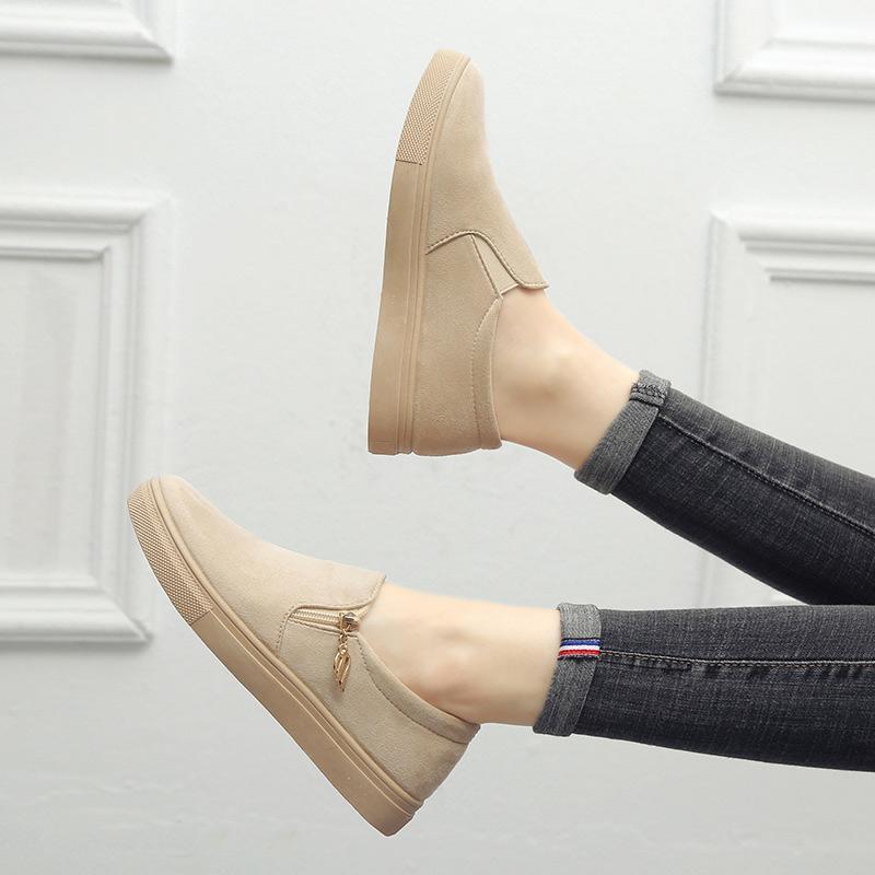 2020 Mulheres Flats Feminino Sapatos de ponta redonda do Vulcanzied Mulheres senhoras Zipper Mulher Loafers Comfort Platform Calçado Plus Size