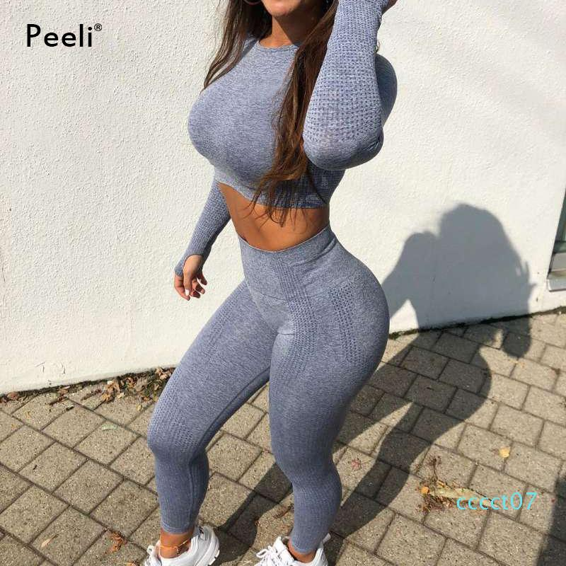 Peeli Frauen Sport Suit 2 PC Sports Shirts Crop Top Seamless Yoga Leggings Yoga Set Gym Kleidung Fitnessanzug Training Satz CT07