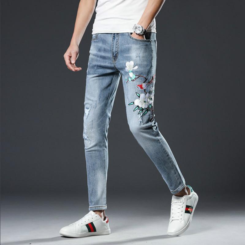 pantalones vaqueros de la nueva manera para los hombres pantalón pitillo jeans clásicos masculinos Fllower Embroid rectas Elasticidad lápiz Pantalones