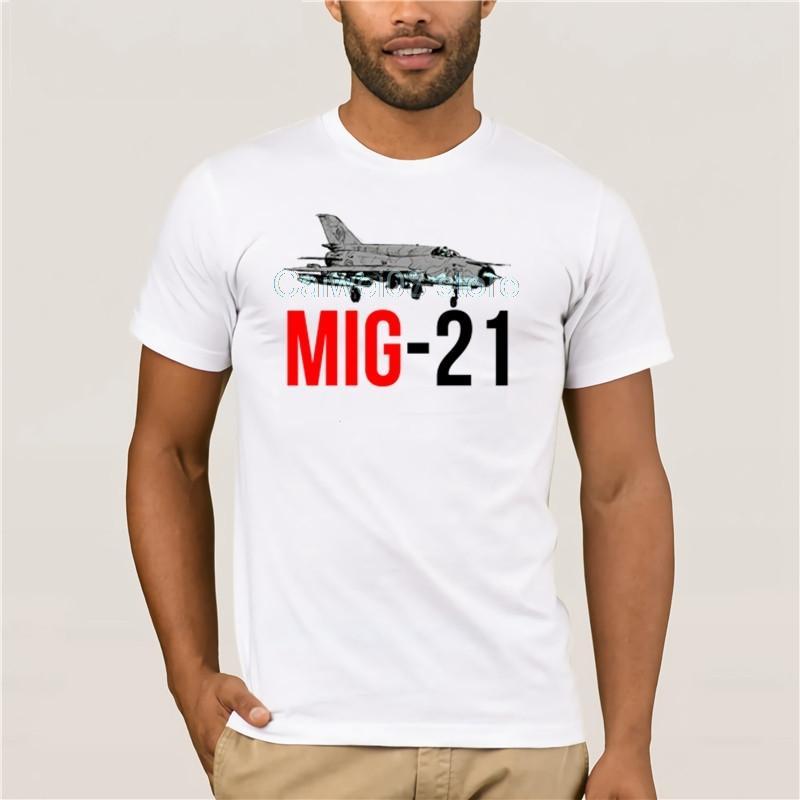 Camiseta de la moda de los hombres Mig 21 Aire Avión Hombres Gris 3d piloto de bombardero militar hombres de los individuos de la historieta de la diversión camiseta de imprenta tendencia Ropa