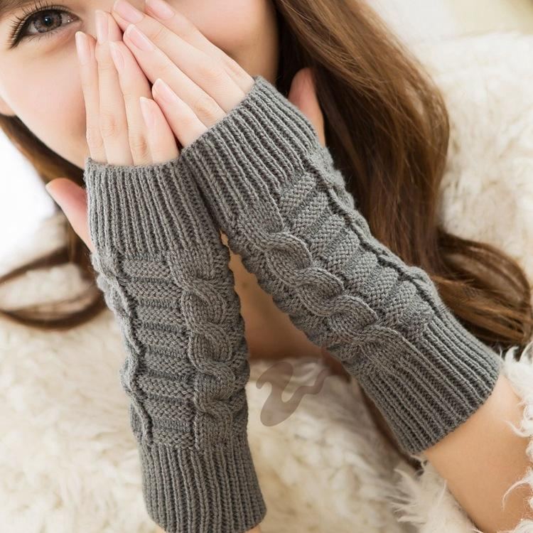 Knitted small Warm gloves 8-character front and back needle autumn and winter warm half finger open finger gloves