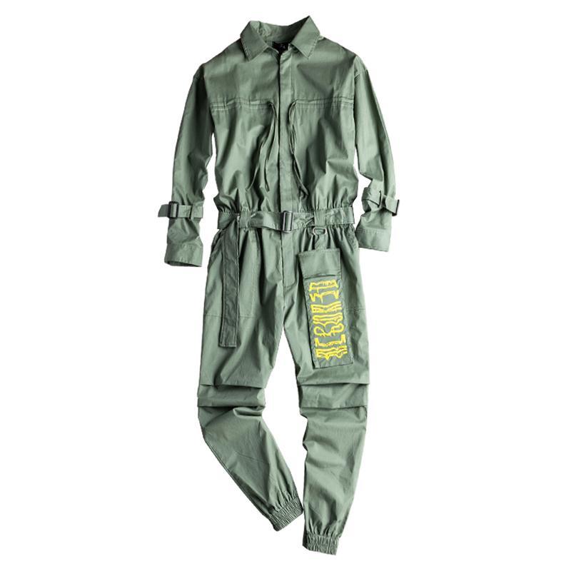 Jeans para hombre Manga larga Joggers Juggers Sumpsuits Con Cinturón Casual Bordados Bordados Monos Over Pasteles Pantalones Verde Negro
