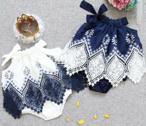 2019 bambino neonato neonato ragazza senza maniche halter pizzo patchwork bella moda pagliaccetto tuta abito vestiti vestiti estate playsuit